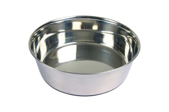 Trixie Stainless Steel Dog Bowl With Rubber Base Ring (Silver) (1 L)
