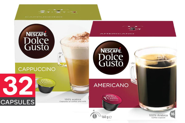 NESCAFE Dolce Gusto Mini Me Automatic Capsule Coffee Machine with BONUS 32 Capsules - White