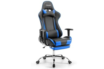 Double Cushioned 180-degree Reclining Office Computer Chair Gaming Racing Chair - Black & Blue
