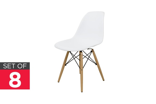 Ovela Set Of 8 Eiffel DSW Dining Chairs   Eames Replica (White)