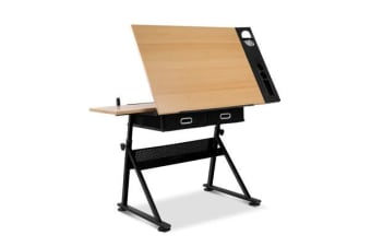Tilt Drafting Table Stool Set (Natural/Black)