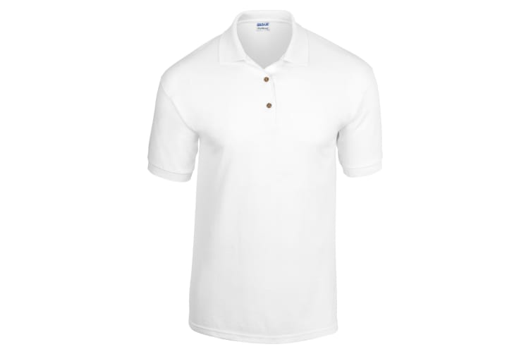 Gildan Adult DryBlend Jersey Short Sleeve Polo Shirt (White) (M)