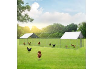 New Extra Large Chicken Coop Metal Guinea Pig House Rabbit Hutch Outdoor Cage 3 x 10 x 1.95m
