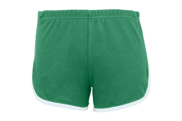 American Apparel Womens/Ladies Cotton Casual/Sports Shorts (Kelly Green / White) (L)
