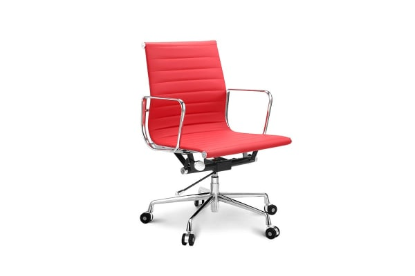 Ovela Executive Eames Replica Low Back Ribbed Office Chair (Red)