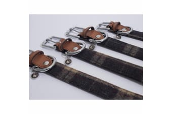 Rosewood Luxury Leather Tweed Check Dog Collar (Brown)