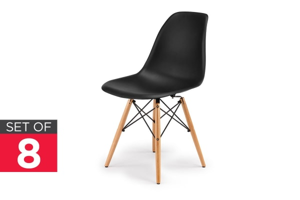 Ovela Set of 8 Eiffel DSW Dining Chairs - Eames Replica (Black)