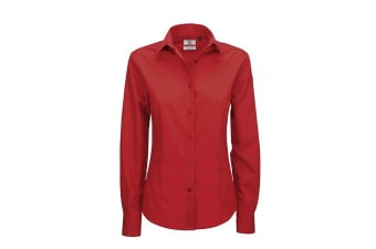 B&C Ladies Smart Long Sleeve Poplin Shirt / Ladies Shirts (Deep Red)