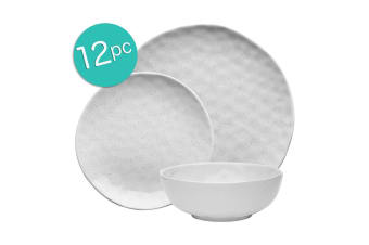 12pc Ecology Speckle Dinner Side Plate Noodle Bowl Gloss Tableware Set Milk