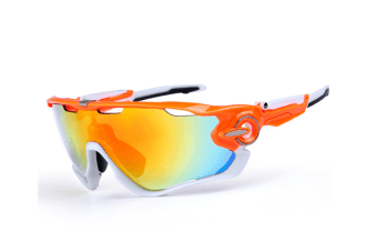 Outdoor Polarizing Sunglasses Antifogging Riding Glasses 5-Piece Suit - 9 Orange 5Pcs