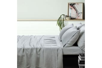 100% Linen Dove Grey Sheet Set SUPER KING