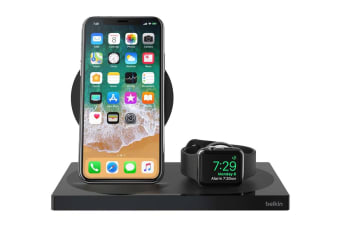 Belkin Powerhouse Wireless Charging Dock for Apple Watch and iPhone - Black (F8J235AUBLK)