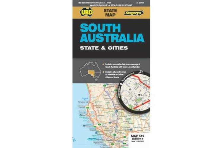 Ubd Gregorys South Australia State & Cities Map 519 8th Ed