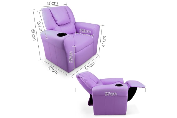 Kids Padded PU Leather Recliner Chair (Purple)