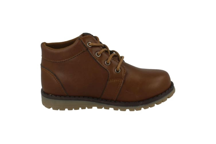 JCDees Boys Trendy Lace Up Ankle Boots (Brown) (UK Child 10)