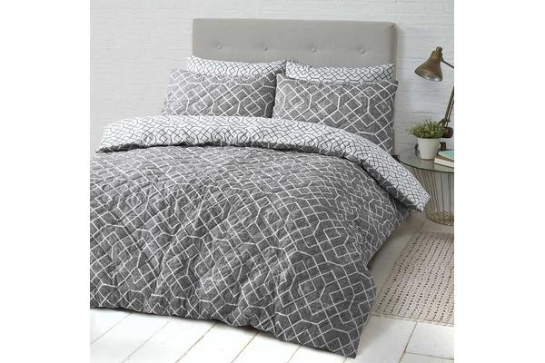 Park Avenue Microfiber Pinsonic Quilted Quilt cover set King Lattice - Reversible
