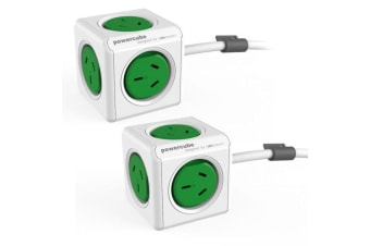 2x PowerCube 5 Socket Mountable Power Board 1.5m Extension Cord 240V Surge Green