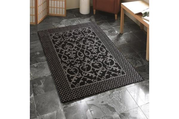 Indoor Outdoor Lace Pattern Rug Black 220x150cm