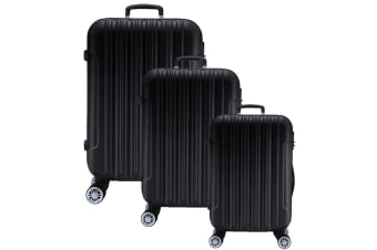 3pc Lenoxx Luggage Travel Case Set w/ Locks Black