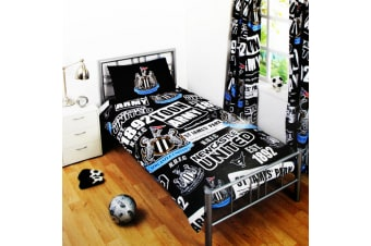 Newcastle United Childrens/Kids Official Patch Football Crest Duvet Set (Black)