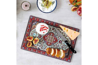 Persian Rug Glass Cheese Serving Cutting Board