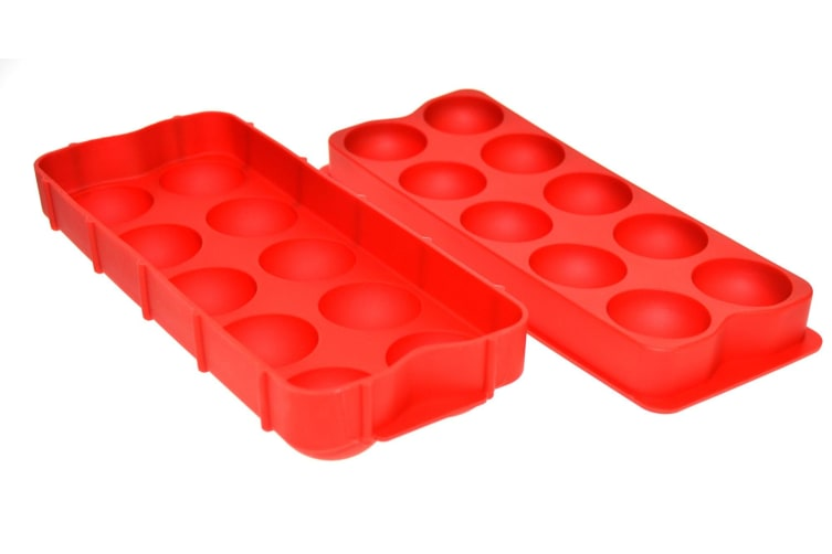 Round Ice Cube Tray Silicone Red
