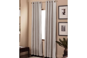 Pair of Faux Suede Eyelet Curtains Stone 136 x 213cm