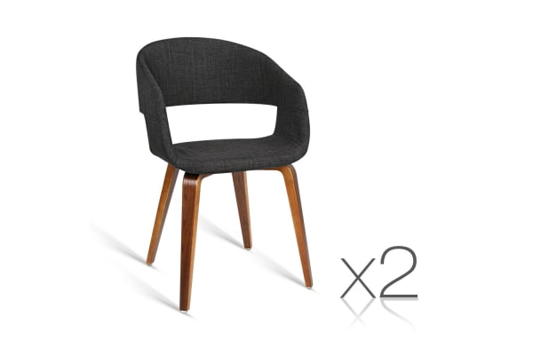 Set of 2 Fabric Covered Modern Dining Chairs (Charcoal)