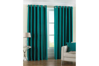 Riva Home Fiji Faux Silk Ringtop Curtains (Teal)