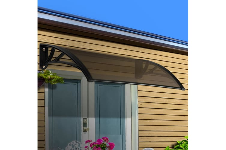 1m X 2m Diy Window Door Awning Canopy Patio Uv Sun Shield Brown