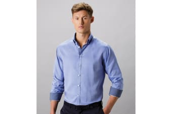 Clayton & Ford Mens Long Sleeve Contrast Tailored Oxford Shirt (White/Blue)