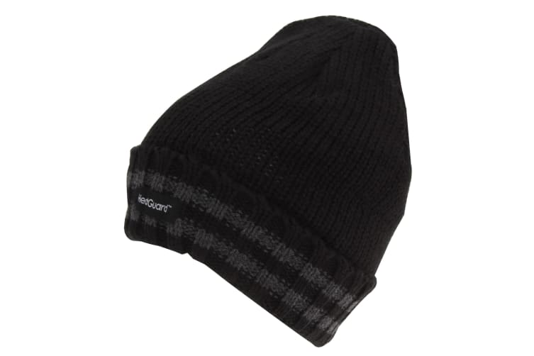 Mens 3M Thinsulate Beanie With Striped Trim (Black) (One Size)