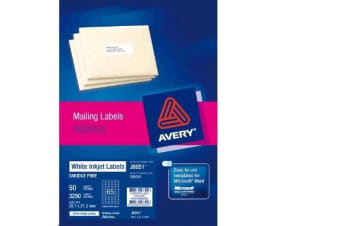 AVERY INKJET LABELJ8651-50 50 SHEETS