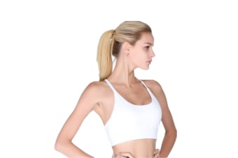 Womens Racerback Sports Bra Wirefree High Impact Support For Yoga Workout White L