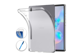 """Samsung Galaxy Tab S6 10.5"""" Ultra-Thin Transparent Clear TPU Gel Case by MEZON (SM-T860, T865) – Anti Scratch, Shock Absorption – with Screen Protector and Stylus"""