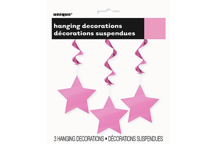 Unique Party Star Swirls Decorations (Pack Of 3) (Pink) (One Size)