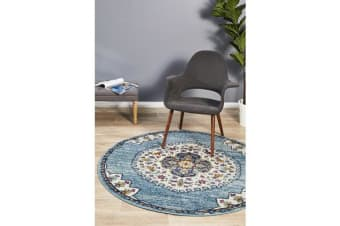Blue & Multi Medallion Vintage Look Round Rug 200X200cm
