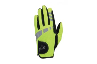 Hy5 Childrens/Kids Extreme Reflective Softshell Riding Gloves (Reflective Yellow)