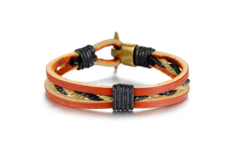 Genuine Leather Wrap Bracelet-Leather/Orange