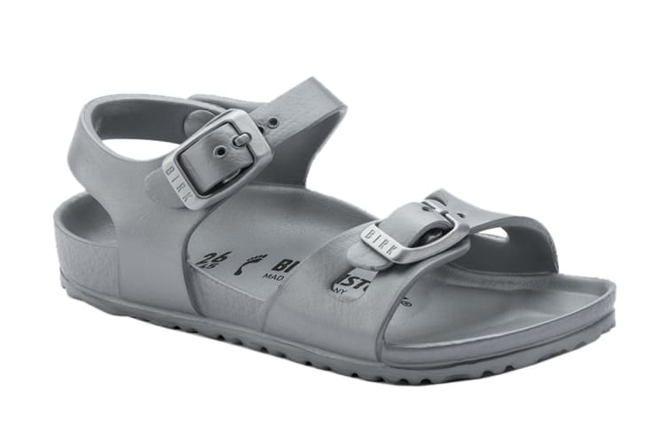 Birkenstock Rio KIDS EVA Regular Fit Sandal (Metallic Silver, Size 33 EU)
