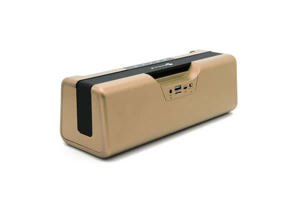 Bluetooth V2.1 +Edr Wireless Boom Box Stereo Speaker Rechargeable Usb Tf Fm Gold