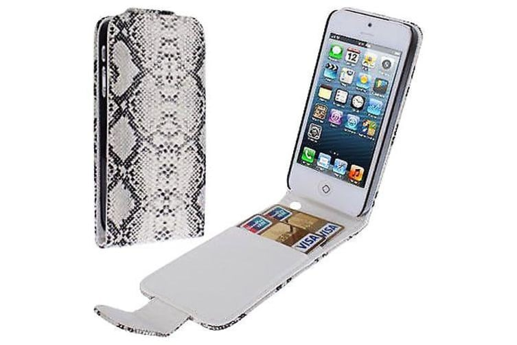 For iPhone SE 5S 5 Wallet Case Snakeskin Texture Leather Shielding Cover Grey