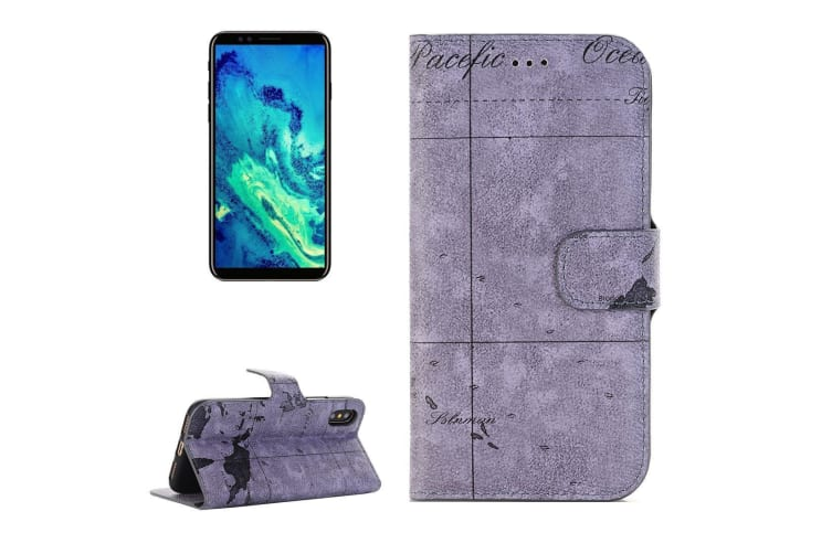 For Iphone Xs X Wallet Case Map Texture Flip Protective Leather Cover Grey