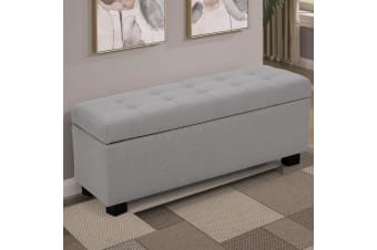 Large Ottoman Linen Fabric Storage Box Footstool Chest - Light Grey