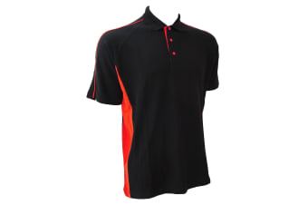 Finden & Hales Mens Sports Polo T-Shirt (Black/Red)