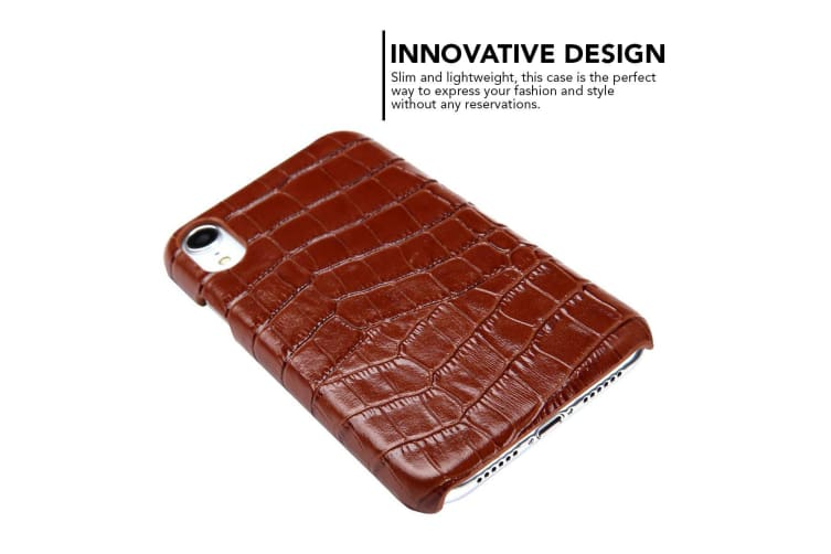 For iPhone XR Case Brown Genuine Crocodile Leather Back Shell Cover