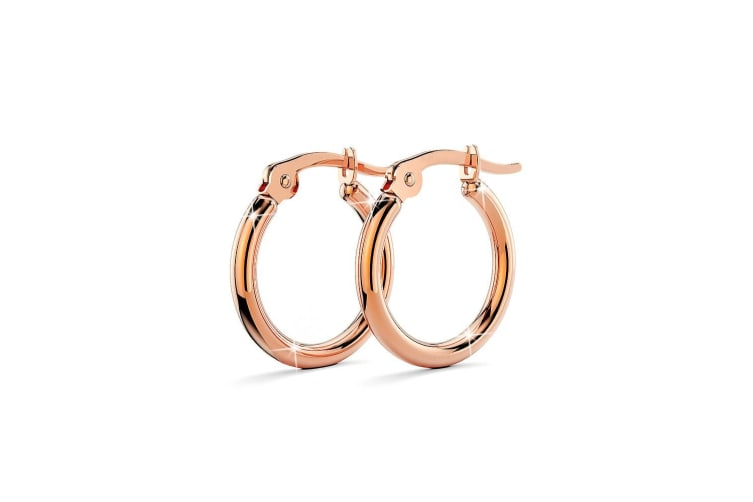Trishia Hoop Rose Gold Layered Earrings 15mm/Rose Gold
