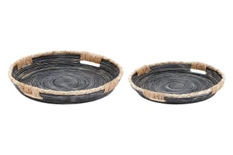 Ladelle Arise Rustic Bamboo Handled Tray Set of 2