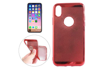 For iPhone XS X Case Elegant Electroplated Durable Grippy Protective Cover Red