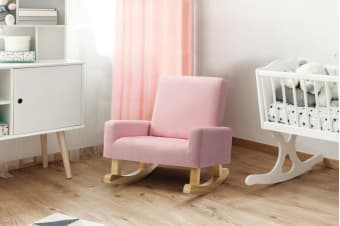 Ovela Kids Linen Rocking Chair (Pink)